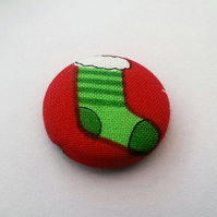 SALE  Christmas Stocking Fabric Badge In Green
