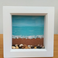 'Plenty Of Pebbles' Mixed Media Seascape Painting