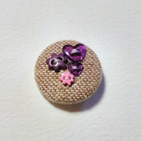 Purple & Pink Button Tweed Badge