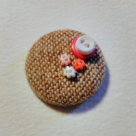 Pink & White Button Tweed Badge