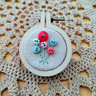 Mini Posy Embroidery Hoop Brooch
