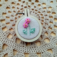 Pink Flowers Embroidery Hoop Brooch