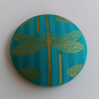 SALE Large Dragonfly Fabric Badge Brooch