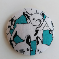 Large French Bulldog Fabric Badge Brooch