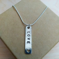 Pewter Love Cutout Heart Pendant
