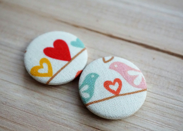 Love Birds Fabric Badge Set