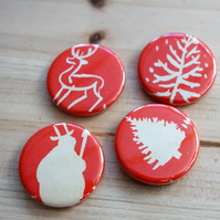 Vintage Christmas Badge Set