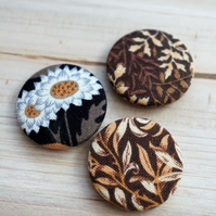 Autumn Tone Floral Badge Set