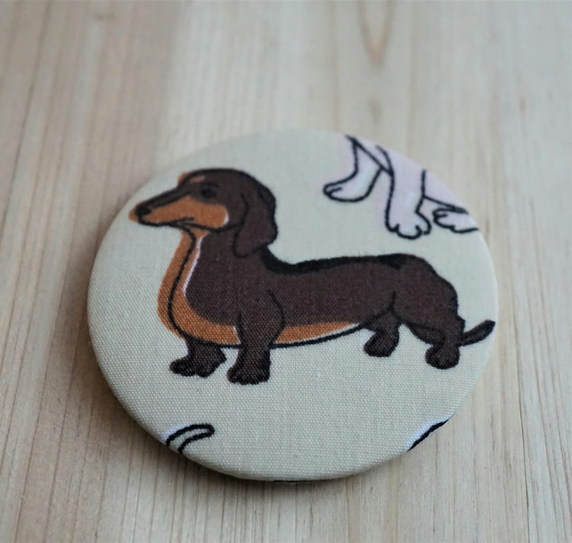 Sausage Dog Dachshund Fabric Pocket Mirror