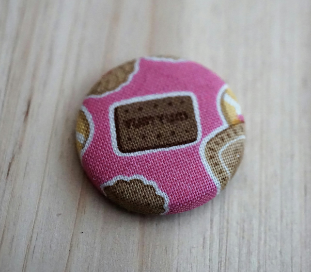 SALE Chocolate Biscuit  Fabric Badge