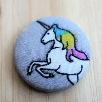 SALE Unicorn Fabric Badge Brooch