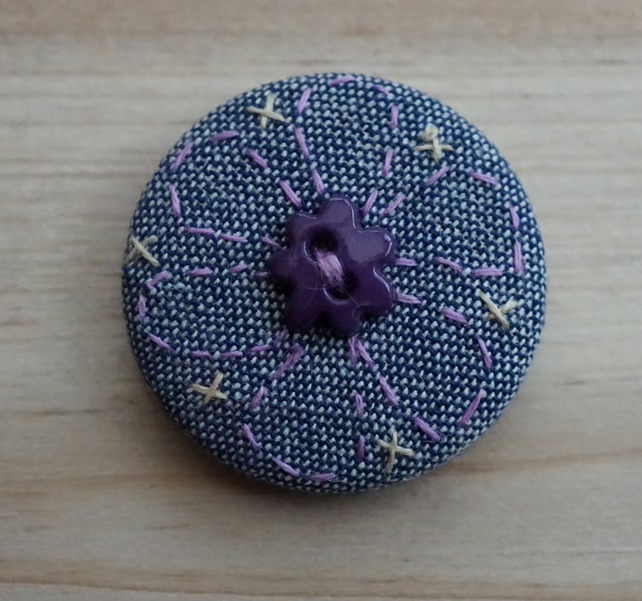 SALE Hand Embroidered Purple Flower Badge Brooch