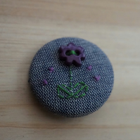 SALE Hand Embroidered Flower Badge Brooch