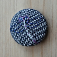 SALE Hand Embroidered Dragonfly Badge Brooch