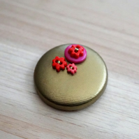 Gold & Red Button PVC Badge