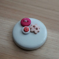 White & Pink Button PVC Badge