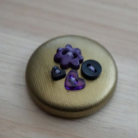 Gold & Purple Button PVC Badge
