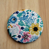 Blue Floral Fabric Pocket Mirror