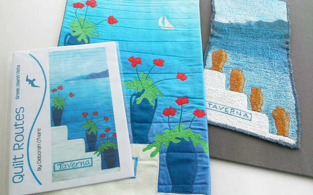 Greek Island Vista Art Quilt PAPER PATTERN by Quilt Routes
