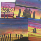 Sunset Skies Art Quilt Pattern with background fabric