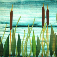 Kit for mini art quilt...textile art   Bull Rushes