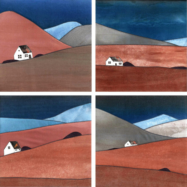 Hillside Cottage Mini Art Quilt Pattern