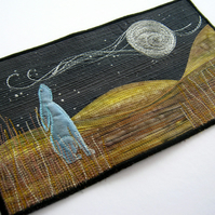 Kit for art quilt...textile art   Moon Gazing Hare