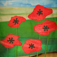 Art Quilt Kit. Poppy Field