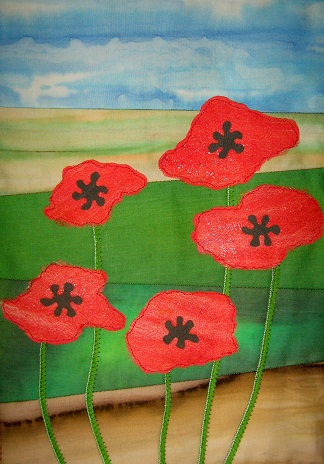 Poppy Field Art Quilt Paper Pattern by Quilt Routes