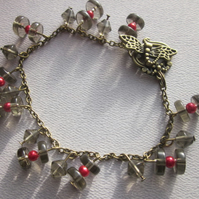 Bracelet Dark Glass and Blood Red Beads