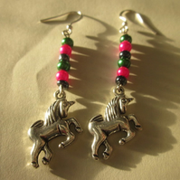 Earrings Unicorn pink and green