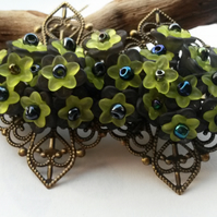 Hair Clip Black and Lime