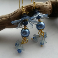 Earrings Large Blue Flowers