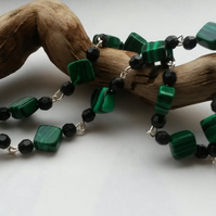 Necklace Green Squares and Black
