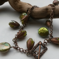 Bracelet Titania in copper and green