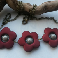 Necklace Red Flowers