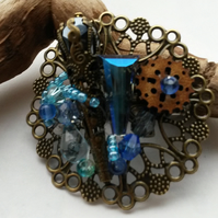 Hairclip Blue Steampunk