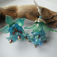 Earrings Forever Fae blue green lucite