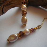 Earrings Dalton Faux Pearl and Amber