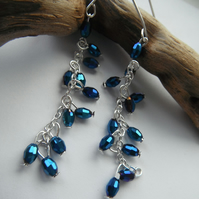 Earrings Blue Cascade