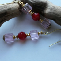 Hey Day - Pink and Red dangle earrings