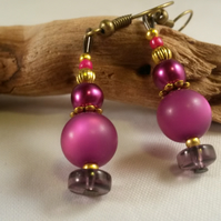 Earrings Lantern with purple beads