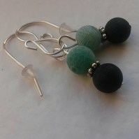 Earrings Green and Black Frosted Agate