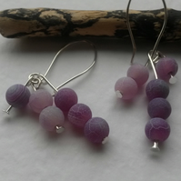 Earrings Triple Frosted Agate in Purple