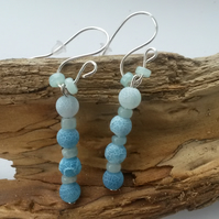 Earrings Cornflower Blue Frosted Agate