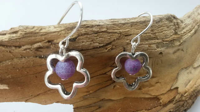Earrings Agate Flower