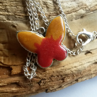 Necklace Butterfly in red and gold