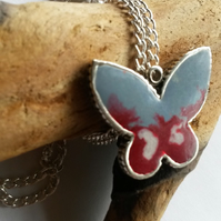 Necklace Berry Blue Butterfly