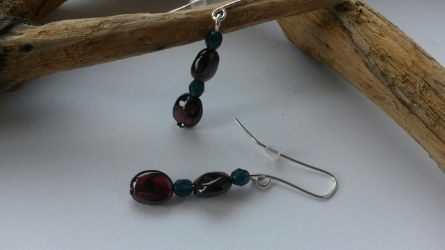 Earrings Garnet Drops