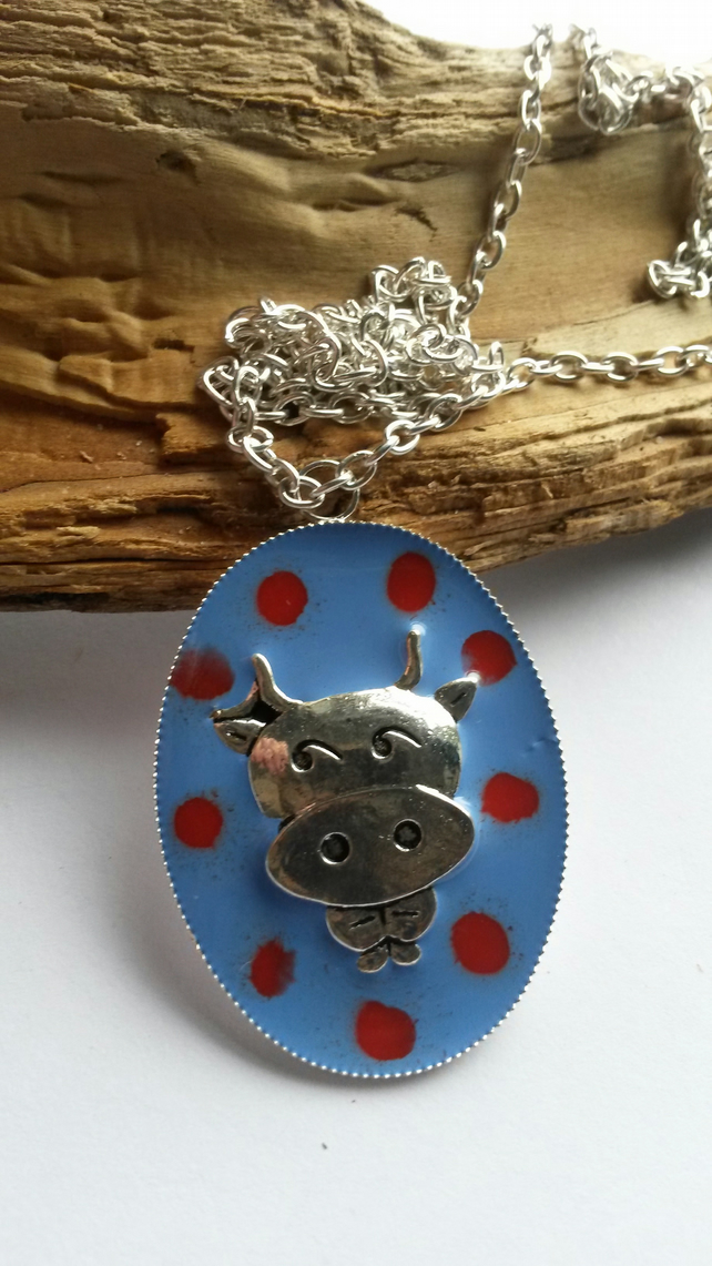 Necklace Blue Spotty Cow
